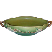 """Beautiful Roseville Apple Blossom 8"""" Green Console Bowl 328-8"""""""