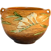 """Beautiful and Rare Roseville Pottery Brown Freesia Jardiniere 669-4"""""""