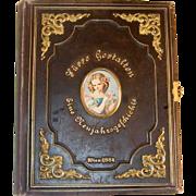 Antique Box Tooled Leather Bound Book Ormolu Decoration