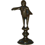 """Old Figural Pipe Tamper Brass Man Standing with Extended Arm 7/8"""" Tamping Disk"""