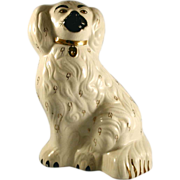 Vintage Staffordshire Dog Figurine Seated Spaniel with Gold Collar Marked Beswick England 1375-5