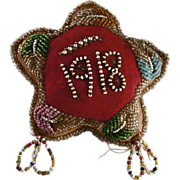 1918 Native American, Iroquois or Mohawk Tribe, Stuffed Cloth Seed Beads Decorated Star Shaped Pincushion