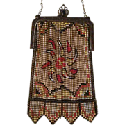 Whiting Davis Vintage Mesh Purse, Colorful Yellow Enamel with Floral Decoration, Circa 1920s