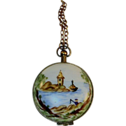 Vintage Limoges Box Decorated Pocket Watch Hand Painted in Limoges, France Numbered & Marked FA