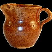 Old Manganese Glazed Speckled Brown Redware Creamer Jugtown Pottery North Carolina