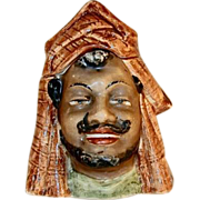 Antique Figural Porcelain Humidor or Tobacco Jar Man with Mustache and Beard In Head Dress