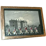 Vintage Wood Box Lift-off Lid  Diorama of White House  Soldiers Marching in Front Marbled sides and Golden Trim