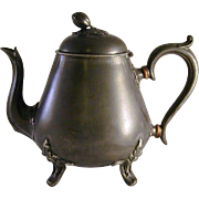Antique Sheffield Brittania Metal Pear Shaped Teapot Ornate Feet and Handle Marked VR and Crown