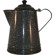 Vintage Agateware or Graniteware or Graniteware Mottled Gray Coffee Boiler or Pot Hinged Lid with Metal Finial