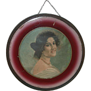 Old Round Flue Cover Beautiful Maiden Image Reverse Painted Edge Metal Frame