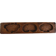 Antique Deeply Carved Wood Maple Sugar Mold Floral and Geometric Designs