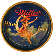 "Vintage 13"" Round Beer Tray Lady or Maiden on The Moon Miller High Life Beer Colorful Graphics"