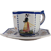Hand Painted French Henriot Quimper Square Cup & Saucer Floral & Country Woman