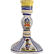 Vintage Porcelain Hand Painted Colorful French Henriot Quimper Tall Candlestick Holder