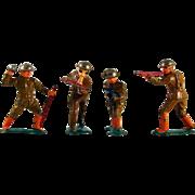 Lot Four Vintage World War 1 Metal Soldier Action Figures Wearing Brown Uniform, Orange Boots and Silver Helmets