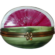 Vintage Limoges France Box Hand Painted Cut Watermelon Shape Made For Tiffany & Co.
