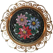 Vintage Flowers on Black Micro Mosaic Micromosaic Decorated Round Golden Pin Brooch Made in Italy