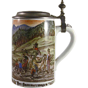 Vintage German Stein Rein Zinn Pewter Lid Colorful Design of Hammer Wagon For a Peasant Wedding