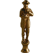 Antique Figural Pipe Tamper Heavy Brass Tall Man Standing Wearing Hat & Smoking Pipe