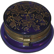 Old Round Cobalt Blue Bohemian Glass Box Golden Overlay Foliage Decorated Lid
