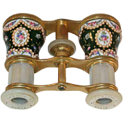 Old LeMaire FT Paris France Colorful Enameled Floral Design Opera Glasses or Racing Binoculars