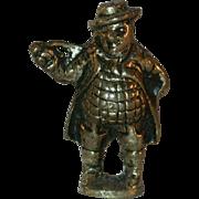 Old Peerage England Solid Brass Figural Pipe Tamper Dickens' Mr. Pickwick