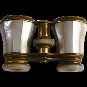 Antique Leroux Paris Mother of Pearl Opera Glasses or Binoculars Original Leather Case