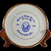 1912 Masonic Commemorative Plate Phoenix Lodge No. 130 Centennial Philadelphia Pennsylvania