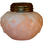 Late 19th Century Salt Shaker Blown Glass Opaque Pink to White Cord and Tassel Pattern Consolidated Lamp & Glass Company