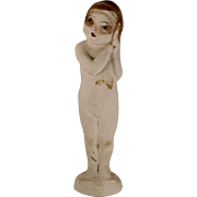 Old Rare and Unusual Chalkware Figurine Nude Pretty Woman with Red Lips
