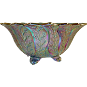 Vintage Carnival Glass Purple or Amethyst Footed Bowl Leaf Design By Imperial Lenox