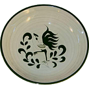 Rare Cream Colored Pennsbury Pottery Large Serving Bowl Green Rooster Decoration