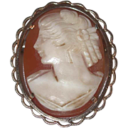 Gorgeous Vintage Carved Shell Cameo Gold Colored Pin Brooch Signed Krementz
