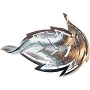 Vintage Crown Trifari Textured Silver Tone Leaf Brooch or Pin 1950s-1960s