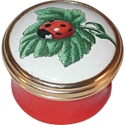 Halcyon Days Enamels England Enameled Box Original Gift Box Lady Bug Green Leaf