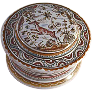 Early Hand Painted Porcelain Round Trinket Box Made in Conimbriga Portugal Artist Signed