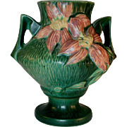 "Rare Roseville Pottery Mid 1940s Green Clematis 188-6"" Vase"