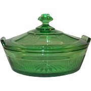 Rare Clear Green Heisey Glass Covered Dish or Bowl Knob Like Finial