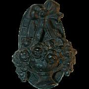 Vintage Cast Iron Doorknocker Black Urn Shaped Flower Basket with Ribbon on Top
