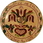 2002 Redware Large Pie Plate Glazed With Sgraffito Decoration Pennsylvania Dutch Tulip and Heart By Lester Breininger