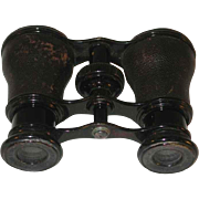 Antique LeMaire FABT Paris France  Covered with Handsome Leather Opera Glasses or Racing Binoculars