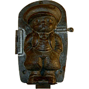 Old Tin Candy Mold Little Boy Baggy Pants Jacket Tie & Hat Dresden Germany