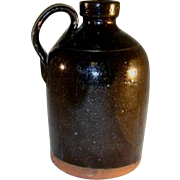 Antique Primitive South New Jersey Manganese and Lead Glazed Straight-Sided Redware Jug