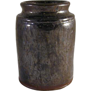 Antique Primitive Pennsylvania Manganese and Lead Glazed Redware Preserve Jar Southeastern Pennsylvania