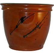 Beautiful 1989 Redware Flower Pot Brown Manganese Glaze By Lester Breininger Robesonia Pennsylvania