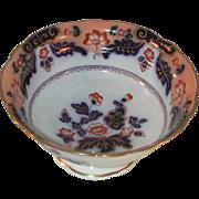 Vintage Footed Porcelain Bowl Floral Design Cobalt Blue and Gold Highlights Marked 2/8491