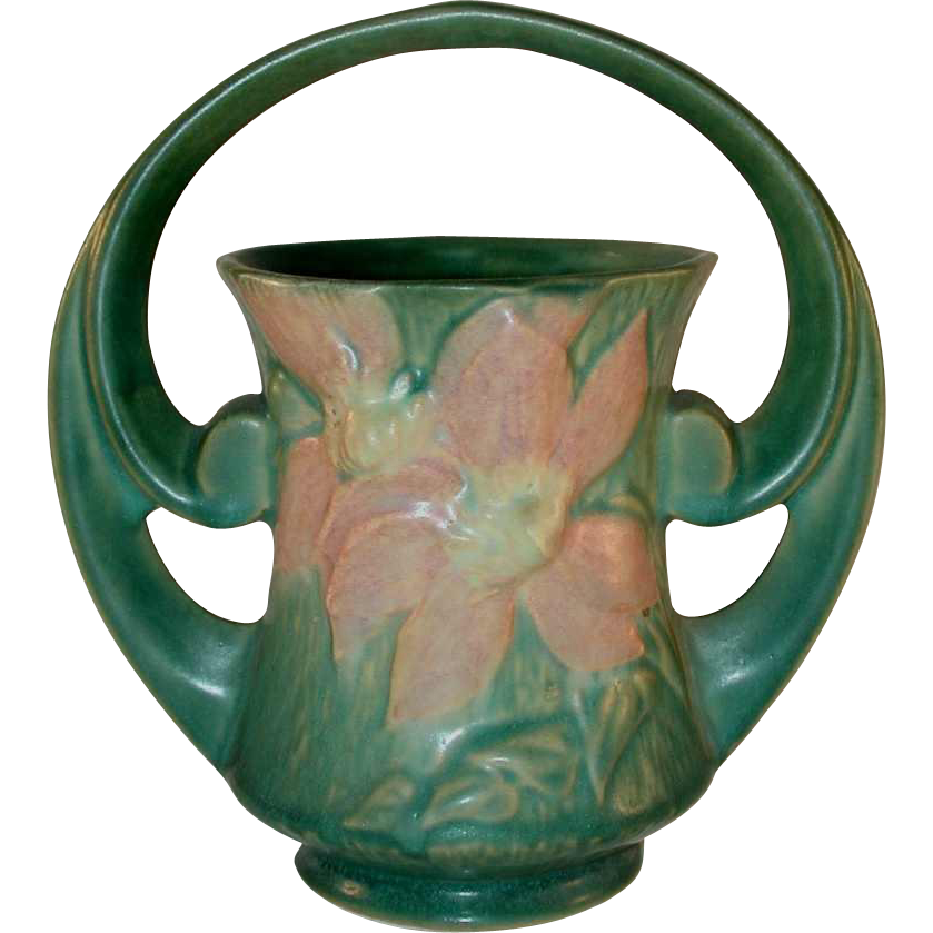 Rare Roseville Pottery Mid 1940s Green Clematis Basket With Handle From Giameraandc On Ruby Lane