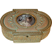 Antique French Ormolu Box with Raised Floral Design Hinged Lid with Signed Miniature of Woman