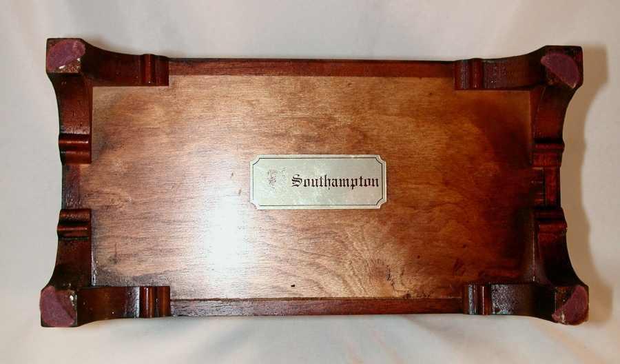 Brown Wood Dresser Box Marked Southampton W Light Colored