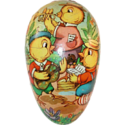 German Colorful Paper Mache Easter Egg Candy Container Chicks Playing Music & Singing